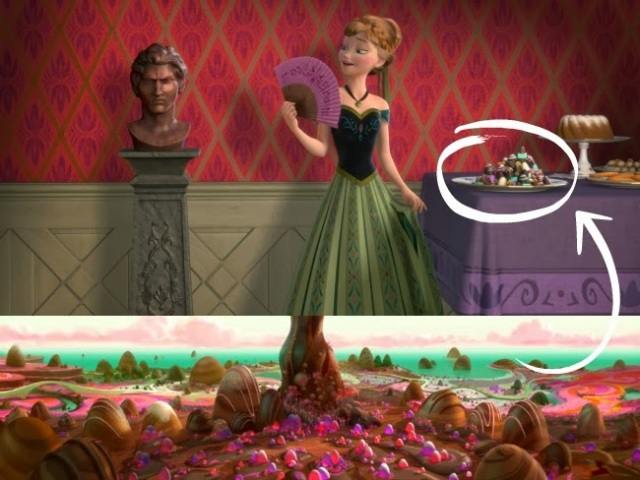Wreck-It Ralph's 'Sugar Rush' land appearing in Frozen.