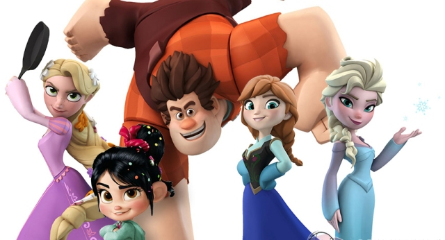 A press-image for Disney Infinity's Wreck-It Ralph, Frosen and Tangled characters.