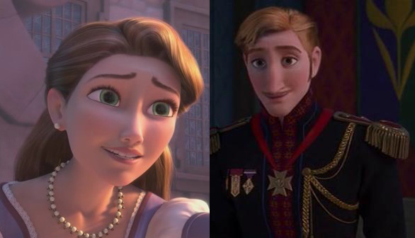 The Queen (left) from Tangled and her brother, the King (right) from Frozen.