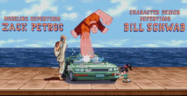 Ryu wrecks a car with the help of Wreck-It Ralph.